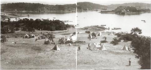 DUNDERDÅLEN: En stor del av rode 9 ligger i området som tidligere gikk under navnet «Dunderdalen». Bukta på bildet heter Dunderbukta. Fra 1918.