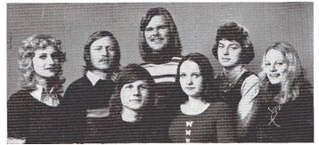 L.U.F.'s styre 1972: Foran: Morten Engebretsen, Karin Larsen. Bak, fra venstre: Anne-Kari Larsen, Kjell Larsen, Sven Boye, Jørn Gilstrøm, Gro-Mette Haskel.
